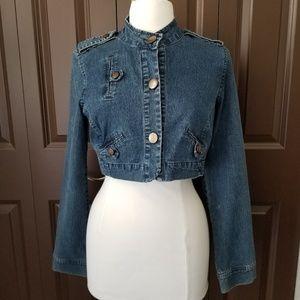 Xhilaration Crop Denim Button Up Jean Jacket Sz M